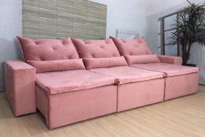 Sofá Retrátil Rosa 3.20 m de Largura - Modelo Eros