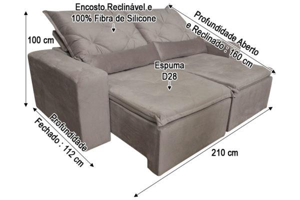 Sofá Retrátil Rose 2.10 m de Largura - Modelo Esplendor