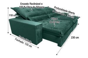 Sofá Retrátil Verde 2.30 m de Largura - Modelo Nairóbi