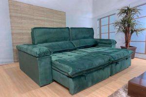 Sofá Retrátil Verde 2.90 m de Largura - Modelo Santoré