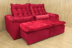 Sofá Retrátil Vermelho 2.10 m de Largura - Modelo Munique