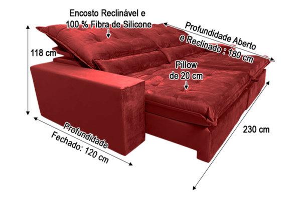 Sofá Retrátil Vermelho 2.30 m de Largura - Modelo Nairóbi