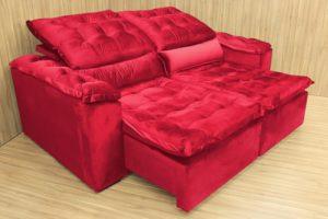 Sofá Retrátil Vermelho 2.50 m de Largura - Modelo Rafaele