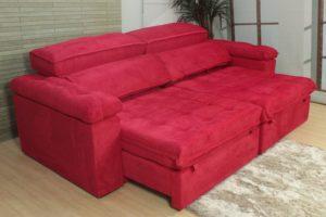 Sofá Retrátil Vermelho 2.90 m de Largura - Modelo Santoré