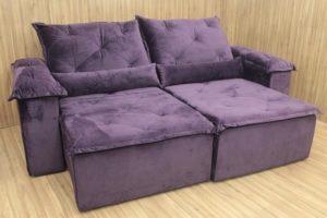 Sofá Retrátil Violeta 2.10 m de Largura - Modelo Zuqui
