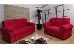Sofá de 2 e 3 lugares Vermelho - Modelo Fortaleza