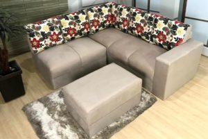 Sofa de Canto Bege com Floral Anetho (4)