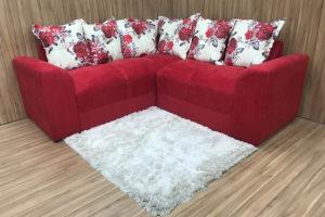 Sofá de Canto - Modelo Belo - Vermelho com Floral 608-15