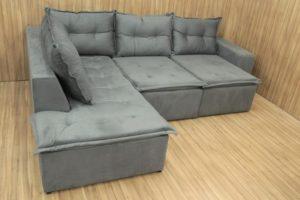 Sofá de Canto Retrátl Cinza - Modelo Sandy